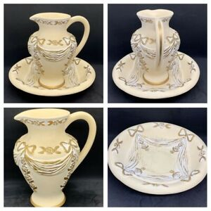 Roman-Greek-Greco-Style-Wash-Jug-and-Bowl-Gold-Edging-Please-See-Description