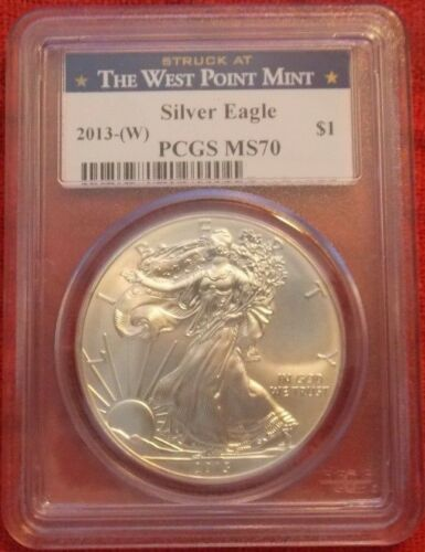 PCGS GRADED: MS70 2013- SPOTS//TONING AMERICAN SILVER EAGLE $1 DOLLAR COIN W