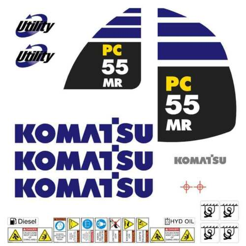 Komatsu PC55MR2 Decals Stickers, repro Kit for Mini Excavator