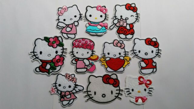 10pcs embroidered iron sew on patches cute hello kitty cat applique