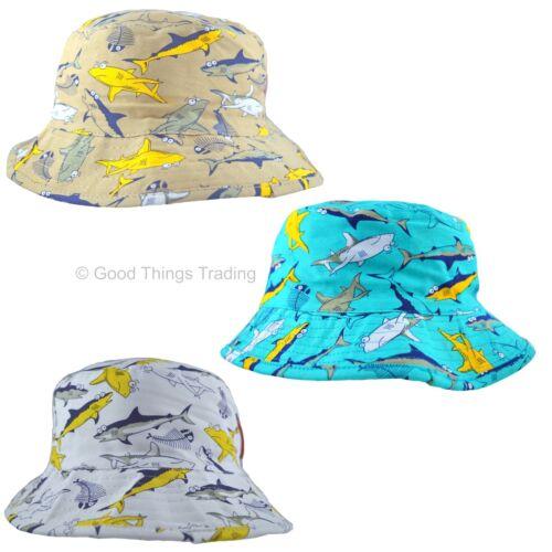 Cappello da Sole Bambini Ragazzi Ragazze Estate Boonie Bush Secchio Cappello mare cotone Shark 3-12 ANNO