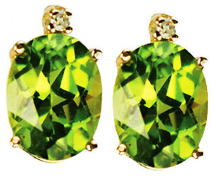 40720e336 Diamond and Peridot 14k Gold Stud Earrings with certificate SPRING ...