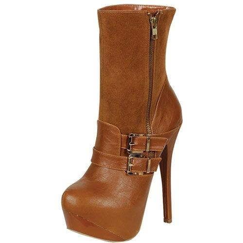 Women's Hidden Platform High Heel Stiletto Brown Cognac Boots size 8.5
