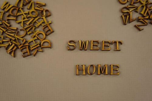 1cm Craft Wooden Letters Digits Adhesive Plain Alphabet 250 NF44 Upper Case