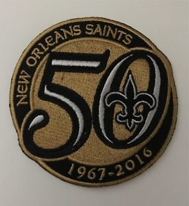 buy online fb84b 9217e Details about NEW ORLEANS SAINTS 50TH ANNIVERSARY NFL SEASON PATCH  EMBROIDERED JERSEY BENSON