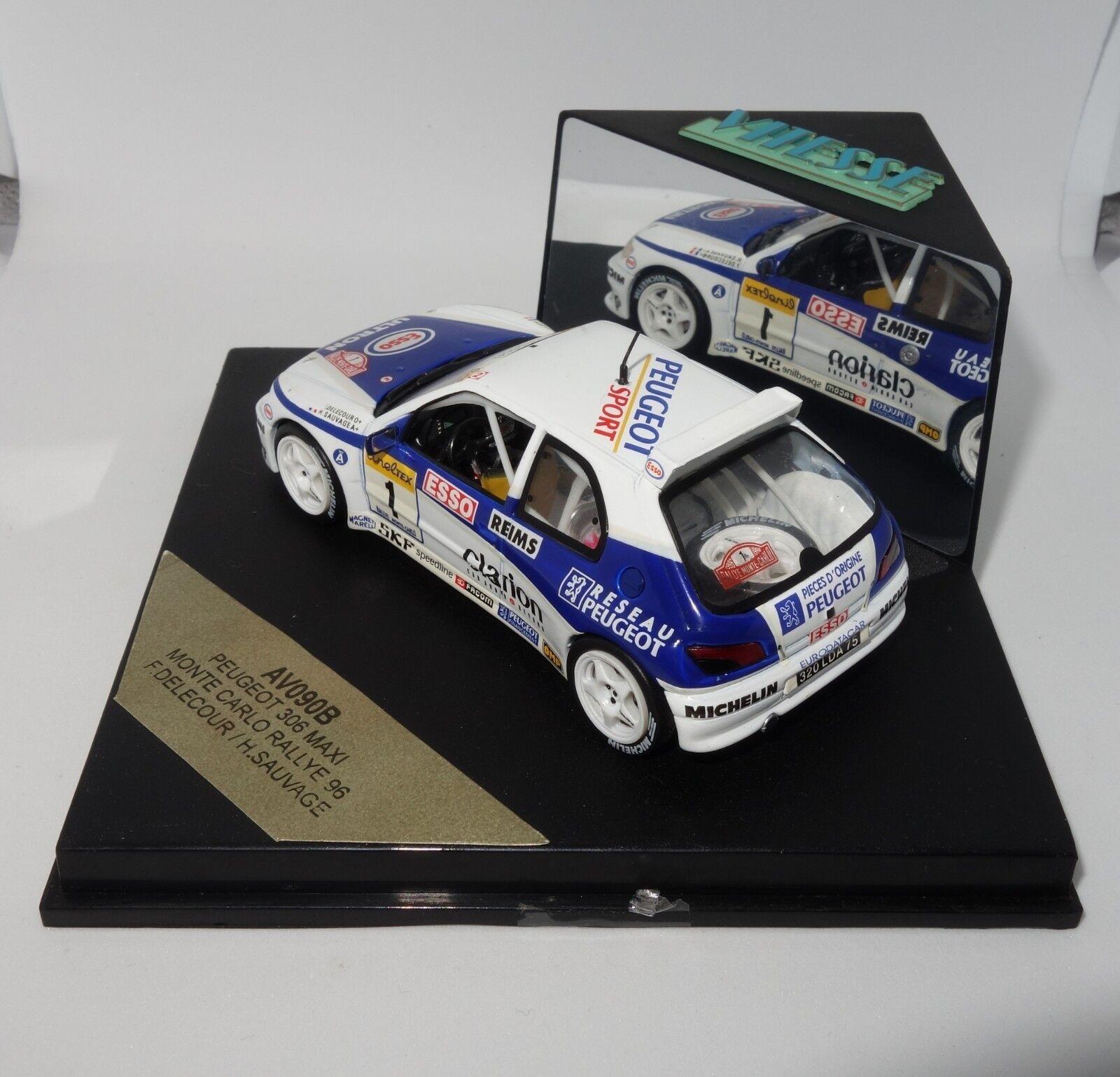 1 43 Vitesse AV090B Peugeot 306 Maxi Monte Carlo Rallye Rallye Rallye 1996 Delecour RARE 8d91db