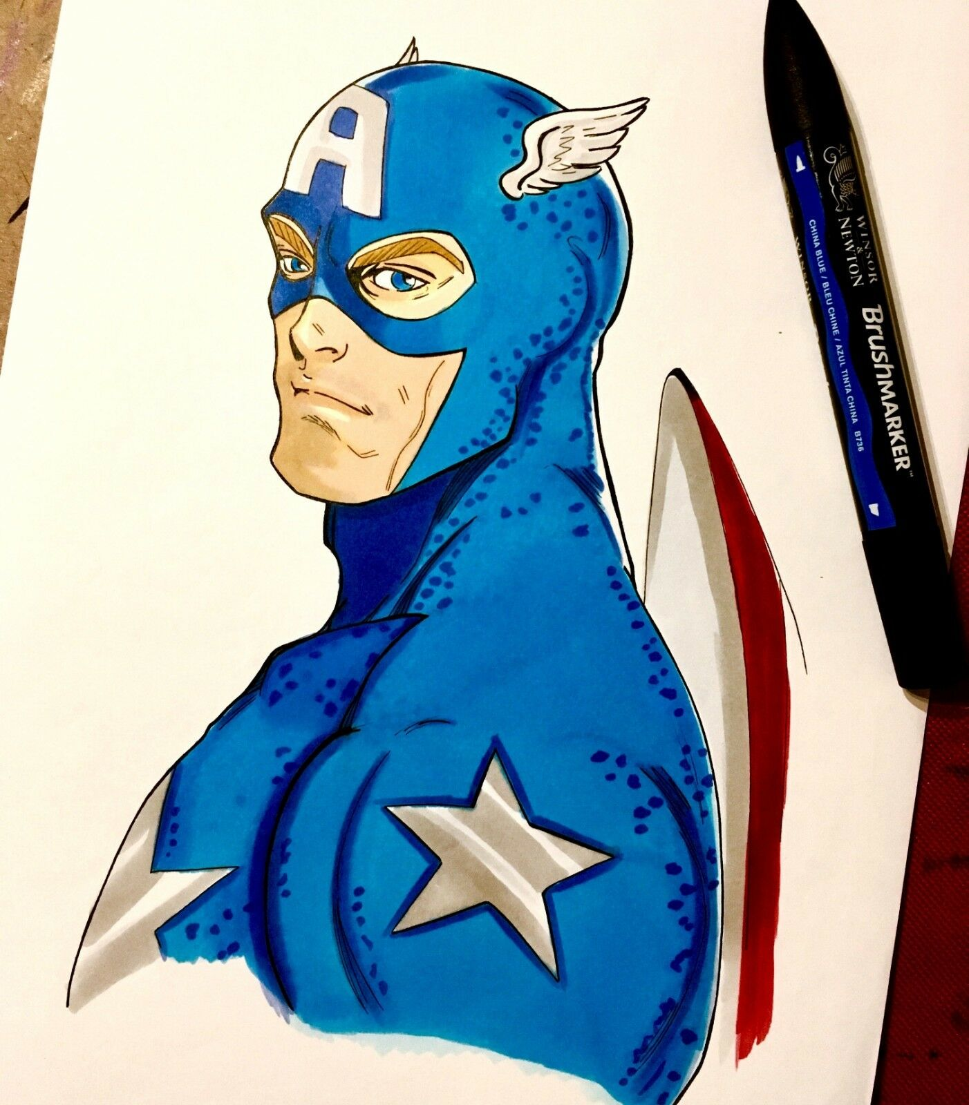 Captain America - Marvel Original Marker Artwork Artwork Artwork -   8.27 x 11.69 inches 75cdd5