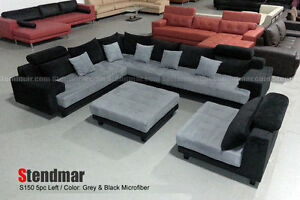 5PC MODERN 2-TONE FABRIC BIG SECTIONAL SOFA S150LBG | eBay