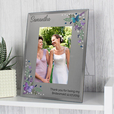 Personalised Butterfly 4x6 Photo Frame 4x6 Glass Mirrored Photo Frame Wedding 7434931987902 Ebay