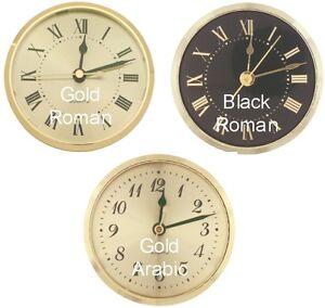 """LOT OF 3 Quartz Insert Clock YOUR CHOICE 3-9/16"""" Gold Bezel Face 3"""" hole AA batt"""