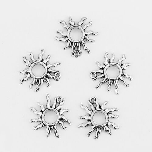 10 x Tibetan Silver Open Flaming Sun Charms Pendants Beads for Jewellery Making