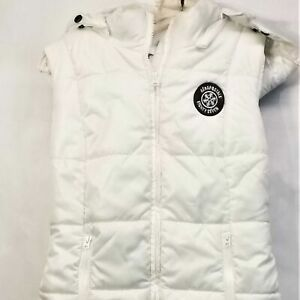 Aeropostale-White-Puffer-Vest-Size-Small-Detachable-Hood-Sleeveless-Jacket