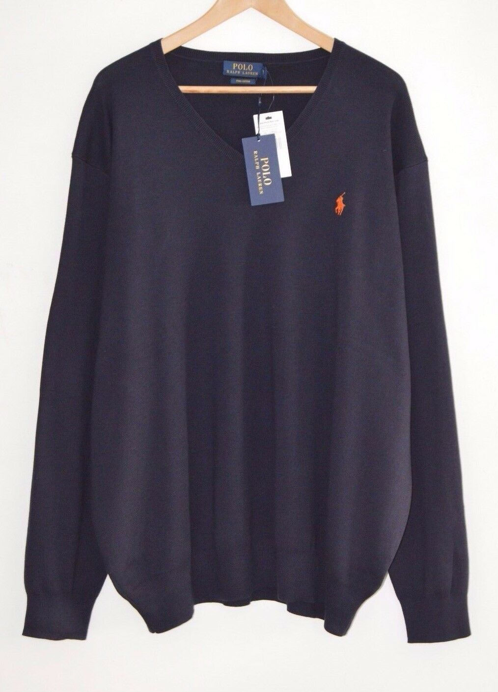 Ralph Lauren Polo Azul Jersey De Algodón Pima  Cuello en V Jersey 6X Grande 6XL 6XB XXXXXXL  A la venta con descuento del 70%.
