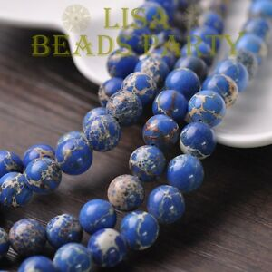 30pcs-8mm-Round-Natural-Stone-Loose-Gemstone-Beads-Blue-Imperial-Jasper