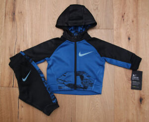 534802993 Nike Baby Boy 2 Piece Hooded Jogging Set ~ Tracksuit ~ Black & Blue ...