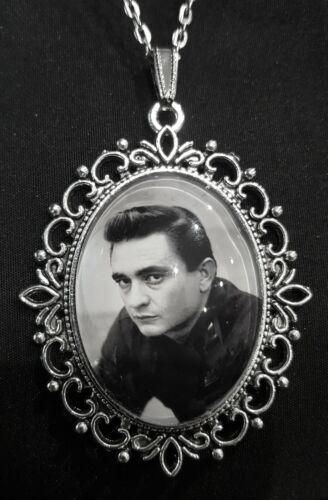 Johnny Cash grandes Collar Colgante de Plata cantante de música country CD