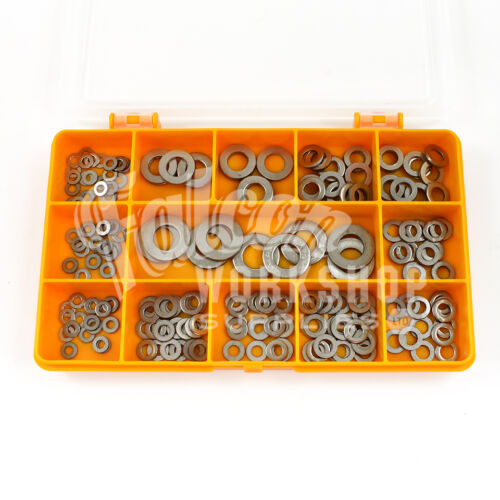 200 ASSORTED PIECE A4 STAINLESS STEEL FORM A FLAT WASHERS M3 M4 M5 M6 M8 M10 KIT