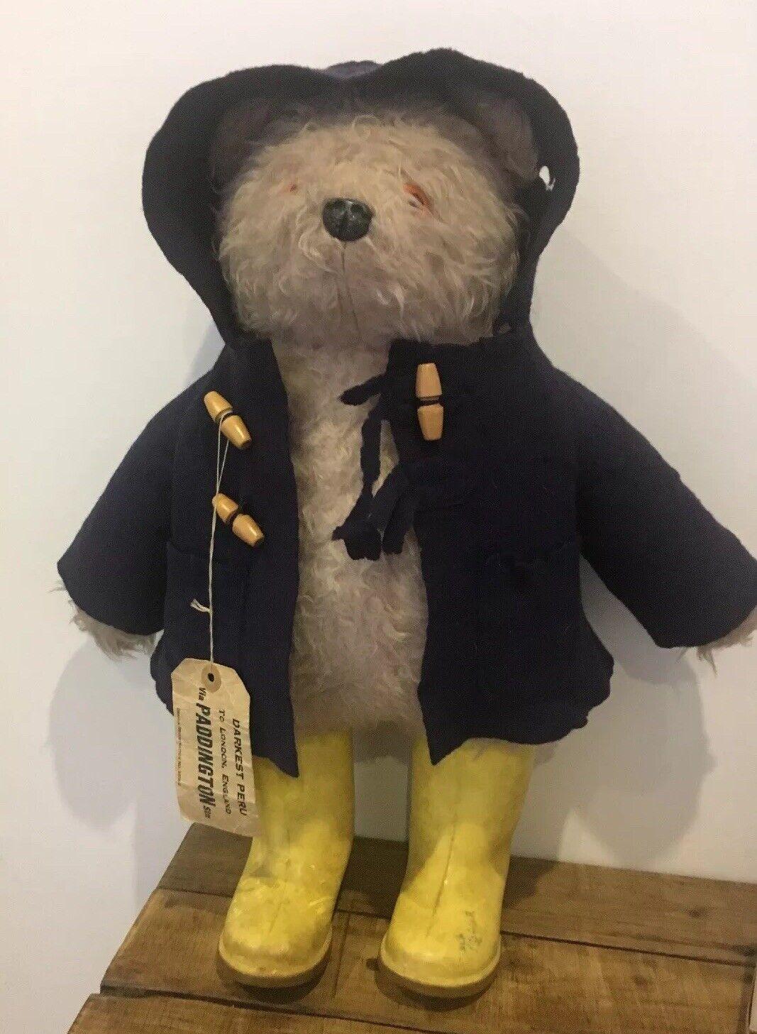 ORIGINALE VINTAGE GABRIELLE Paddington Bear Dunlop Stivali di gomma Mohair TAG N. 957892