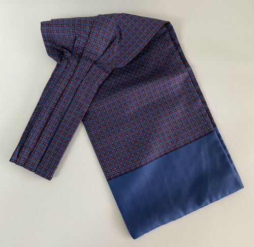 Hermès French Silk Ascot Tie Cravat Scarf Blue & R