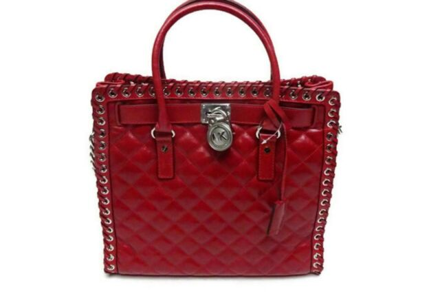 35b958c55f6f Michael Kors Hippie Grommet Hamilton Large Leather N s Tote Bag Purse Red