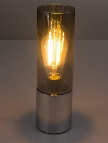 RGB LED Nacht Tisch Leuchte DIMMBAR Chrom Glas Touch Lampe rauch FERNBEDIENUNG