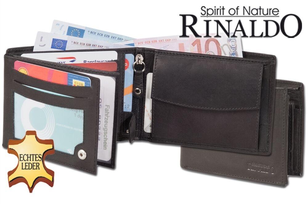 + Geldbörse Rinaldo Double-Coin Riegelgeldbörse Rindsleder Schwarz 45506089
