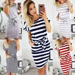 UK-Womens-Short-Sleeve-stripe-Bodycon-Midi-Dress-Ladies-Summer-Striped-Dress