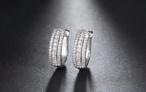 2ct Round Cut Diamond 3 Rows Vintage Women Hoop Earrings 14k White gold Finish