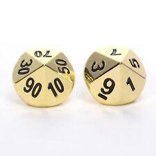 Solid Metal d100 Percentile Pair (Set of 2 Dice) Bright Gold D10 D10's