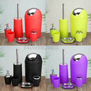 6Pcs Bath Bathroom Accessories Set Soap Dispenser Toothbrush Holder Waste Bin ~
