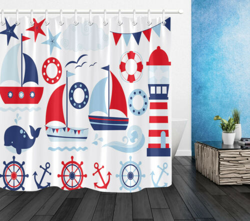 Sailing Lighthouse Nautical Decor Shower Curtain Waterproof Fabric 12 Hook /& Mat