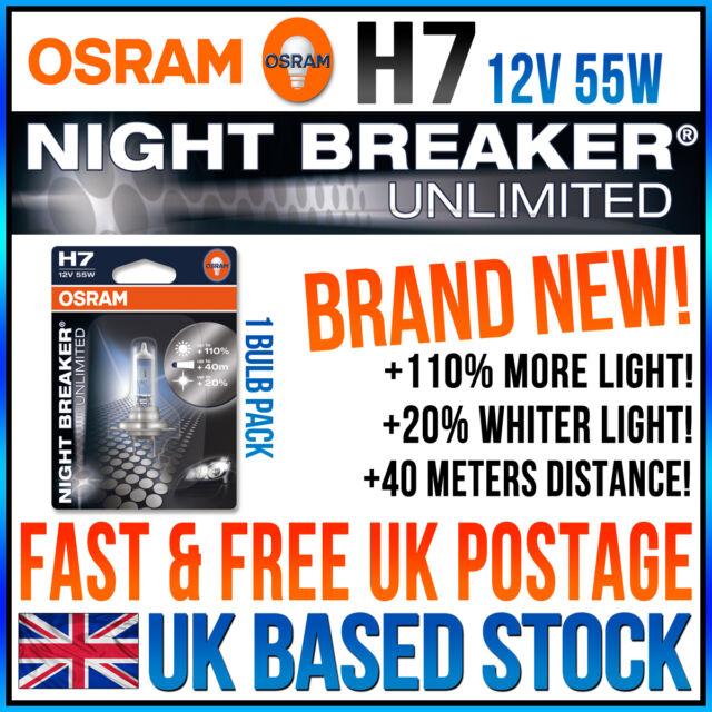 1 x H7 OSRAM NIGHT BREAKER UNLIMITED +110% Bright,+20% Whiter Light XENON LOOK
