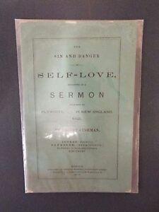 Details about Robert Cushman 1876 Sermon - Sin and Danger of Self Love-1st  American sermon