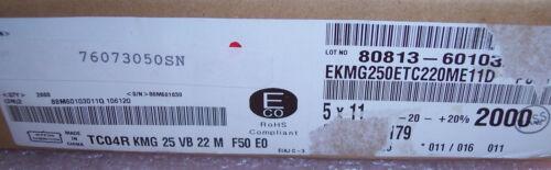 QTY 100 22uf 25V 105/' RADIAL ELECTROLYTIC CAPACITORS  EKMG250ETC220ME11D NCC