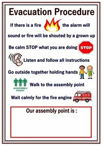 Poster sign fire evacuation procedure educational children for Fire evacuation procedure template free