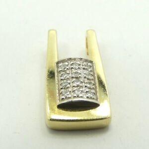 14K-Yellow-amp-White-Gold-Diamond-Studded-Rectangle-Pendant-6-034-2-9g-D6341