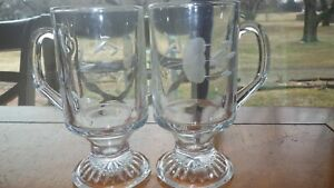 Princess house Heritage Irish Whiskey glasses 2 10oz etched footed handled glass
