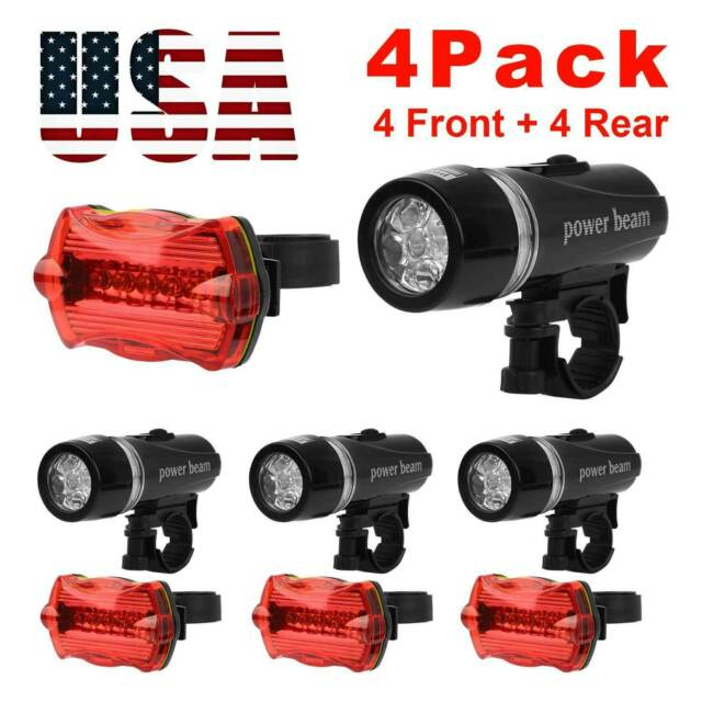 4X Waterproof 5 LED Bike Bicycle Front Head Light+Rear Safety Flashlight+Bracket