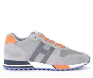 Sneaker-Hogan-H383-in-suede-e-mesh-grigio-e-arancione