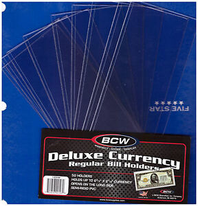 10-SMALL-BCW-DELUXE-CURRENCY-SLEEVE-BILL-NOTE-HOLDERS-PAPER-MONEY-SEMI-RIGID