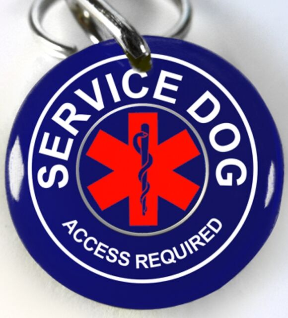 Service Dog Asclepius medical blue custom personalized tag for pets by ID4PET