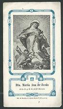 estampa antigua Beata Maria Ana andachtsbild santino holy card santini