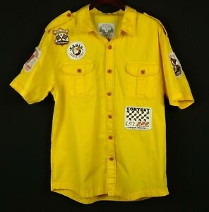 SMOKE-RISE-Mens-Yellow-Shirt-BD-SS-L-100-Cotton-Pit-Crew-Patches-Red-Stitching