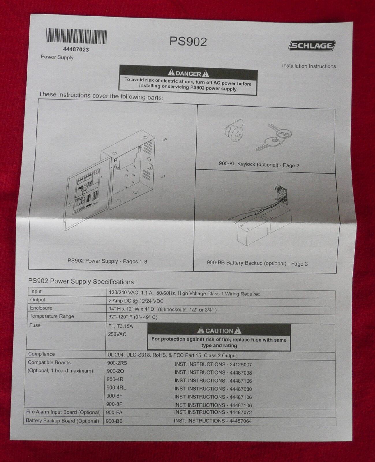 Schlage Allegion Ps902 Power Supply 2a 4448947 Ebay Fa 900 Wiring Diagram