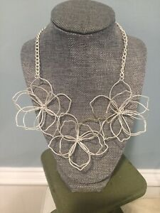Silver Wire Flower Necklace Used Unique Jewelry Statement