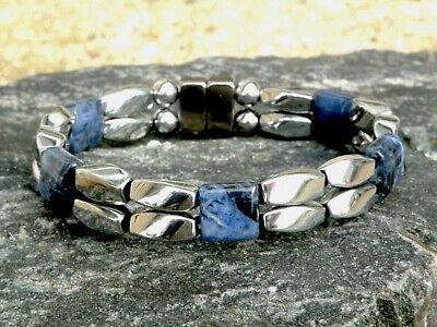 Men's Women's Silver Magnetic Hematite Bracelet Anklet Necklace Lapis Gemstones