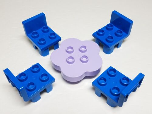 Lavender Purple Flower Petal Table Blue Chairs Lego DUPLO Bricks House Furniture
