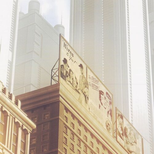 """BACK TO FUTURE CITY CANVAS 45W/""""x20H/"""" LEAVING THE FIFTIES by STEPHANE BELIN"""