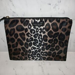 huge discount 2090c 985fc Details about Kate Spade Large Pouch Lindenwood Leopard Animal Flat  Cosmetic Bag Makeup