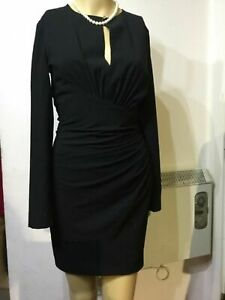 NEW-MANGO-SUIT-FITTED-RUCHED-DRESS-SIZE-UK-6-APPROX-BLACK-60-POLYESTER-36-VISC